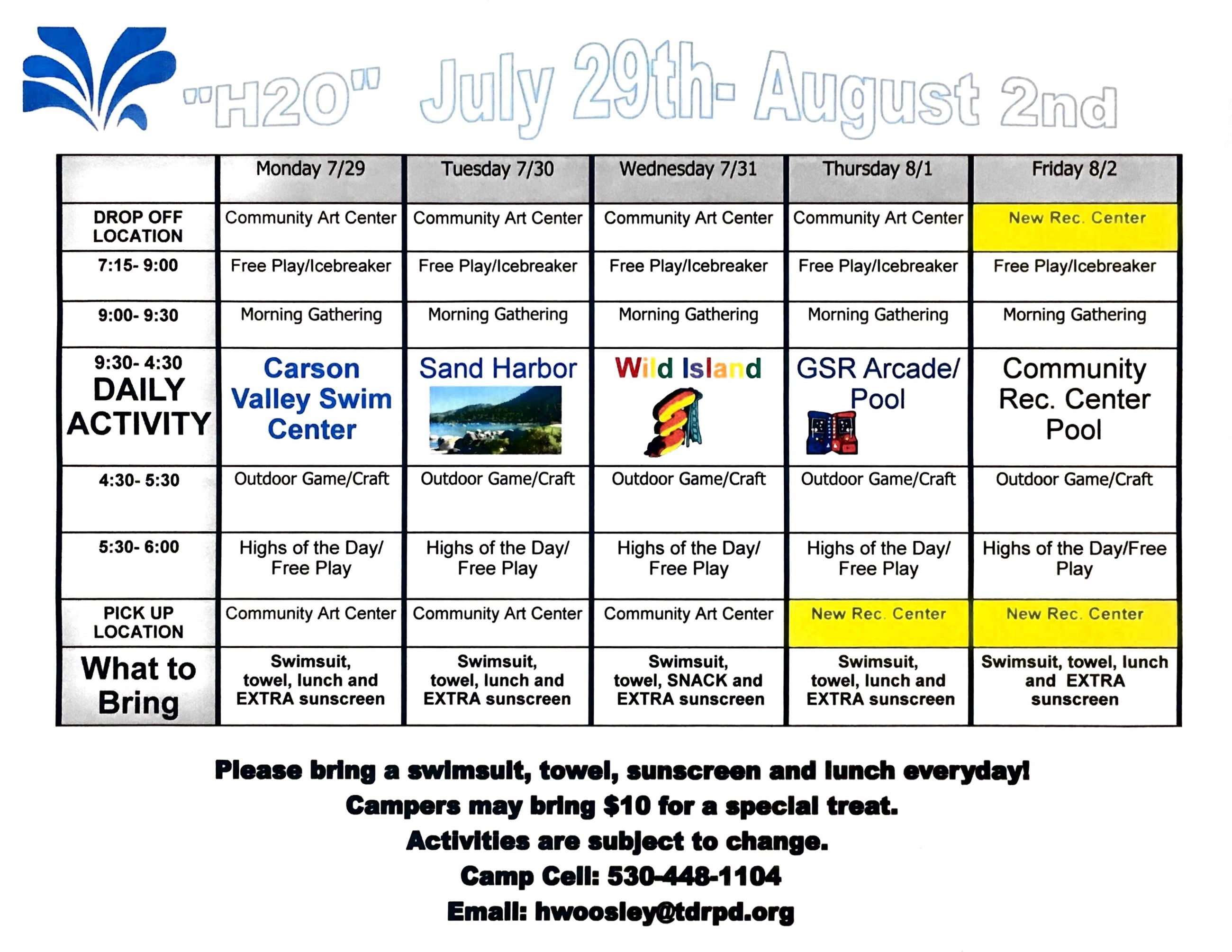 Adventure Camp Schedule