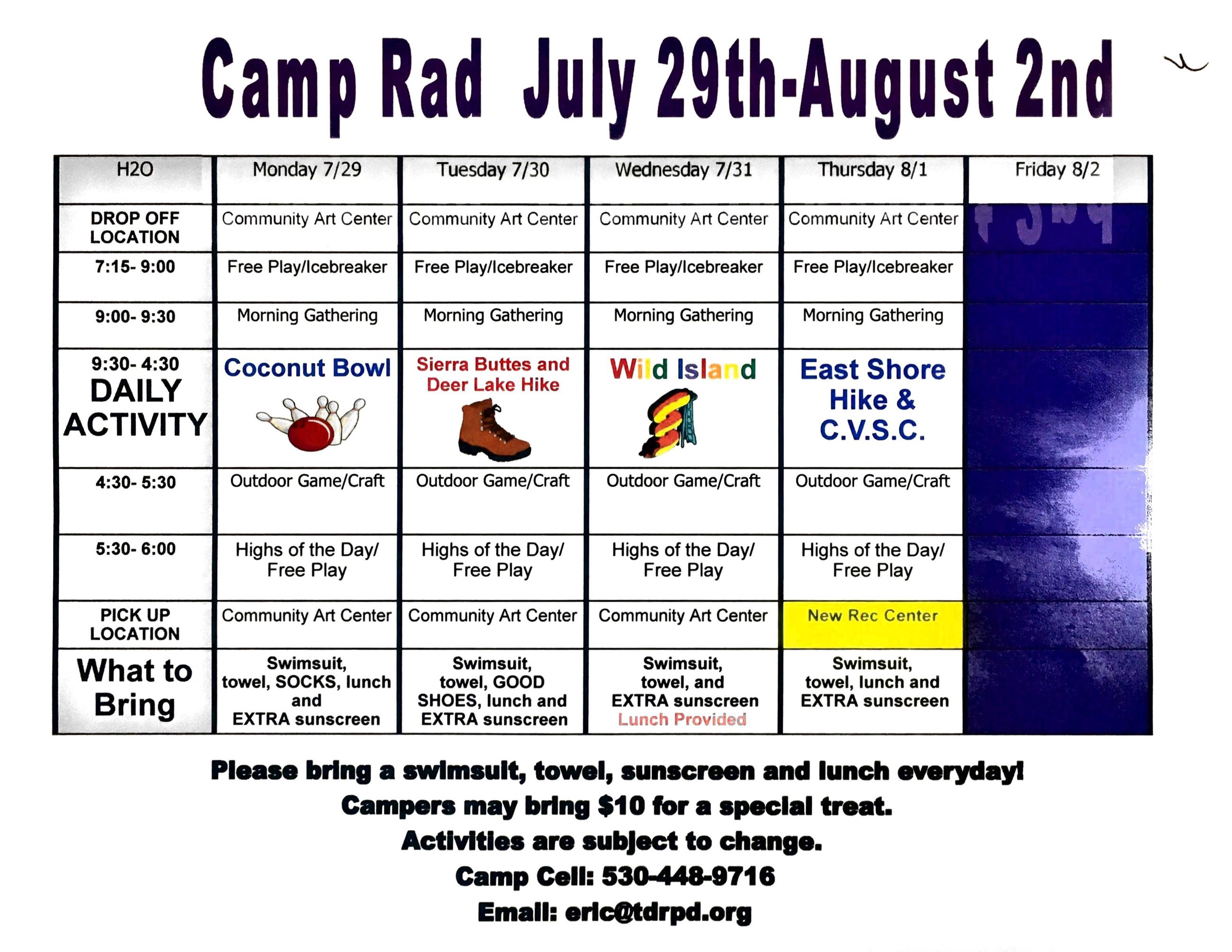 Camp Rad Schedule